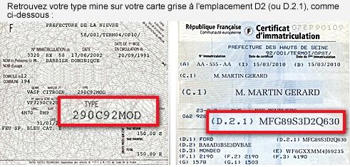 carte grise ancienne immatriculation Certificat d'immatriculation et le CNIT d'un véhicule